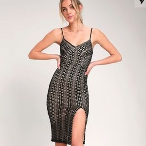 Lulu's new rules black lace bodycon midi dress